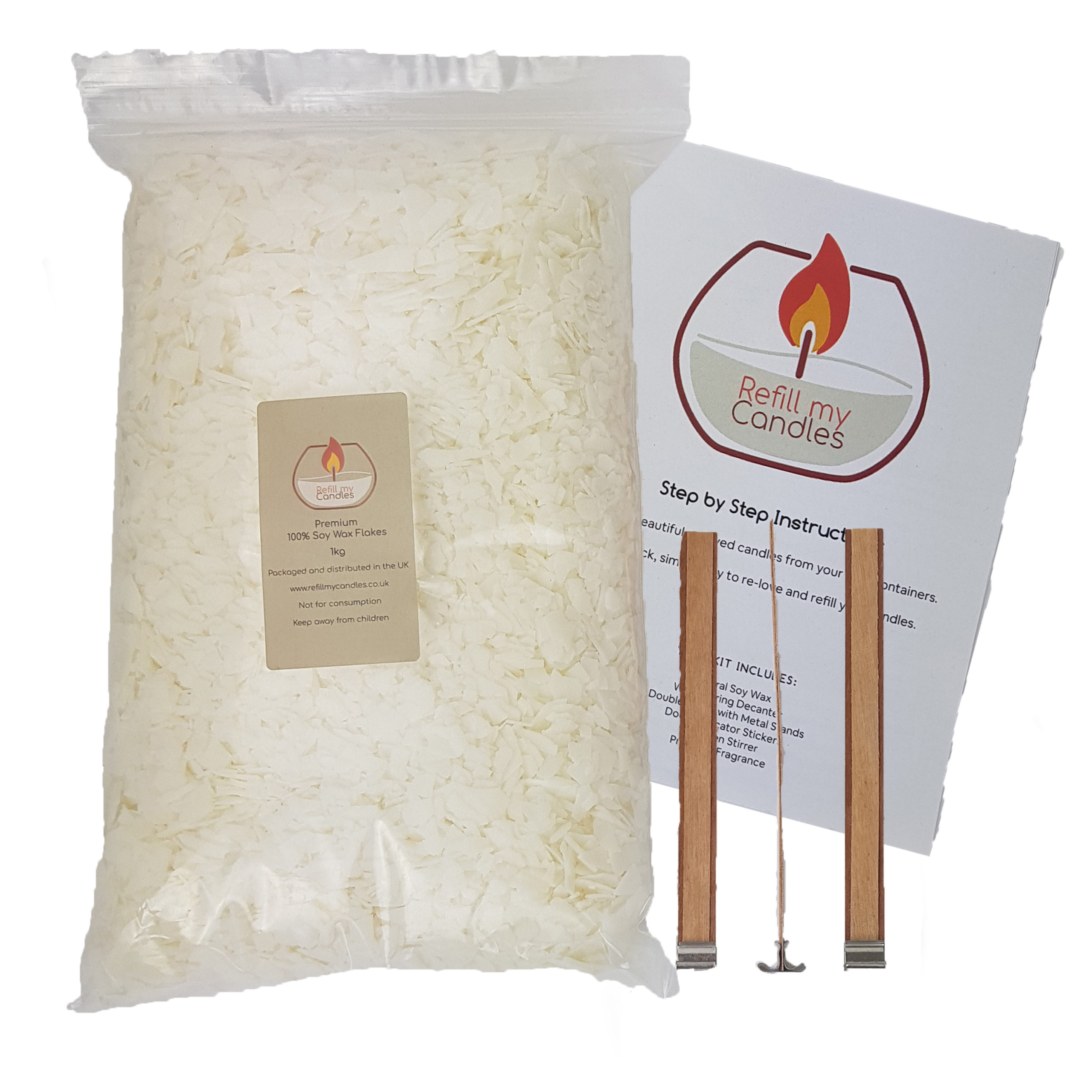 Top up candle kit – 1KG 100% Natural Soy Wax & 3 x 15cm Tall Double Woodwicks pack & Instructions