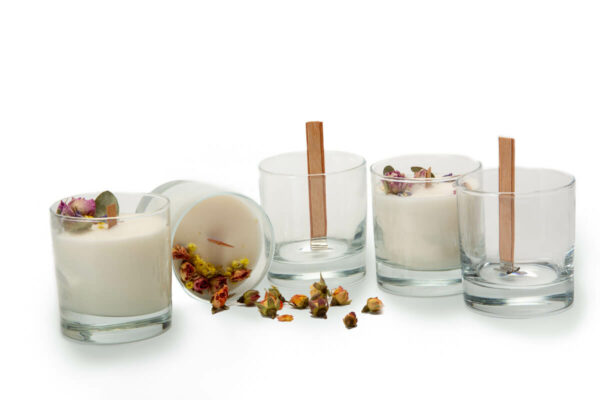 5 clear glass candles