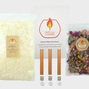 Top up candle making kit & 12gm Dried Flowers  – 600gm 100% Natural Soy Wax & 3 x 10cm high Double Woodwick pack & Instructions